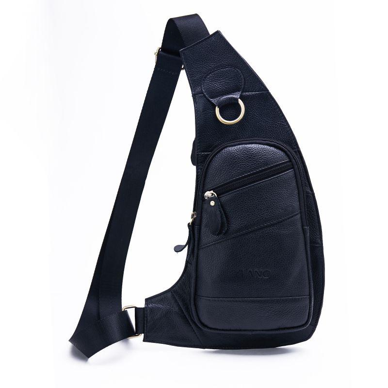 1caf2aac5d Enuine Leather Sling Bag Men s Chest Pack Crossbody Shoulder Bag Messenger  Casual Travel Cell Phone Case Cover Satchel Handbags White Handbags From ...