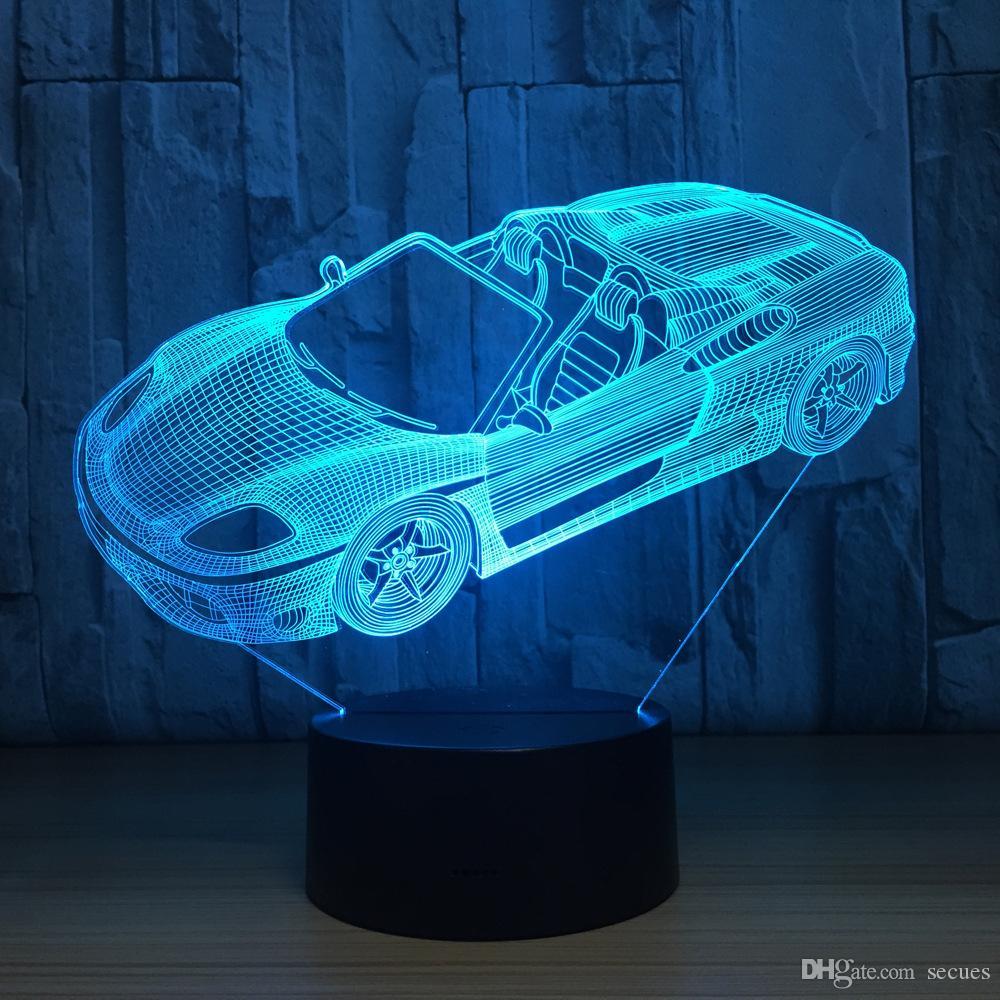 بارد سيارة رياضية 3D الوهم البصري مصباح ضوء الليل DC 5V USB شحن البطارية 5th بالجملة دروبشيبينغ شحن مجاني