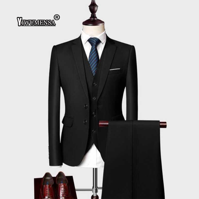 Compre Yiwumensa Últimos Diseños De Pantalón Negro Formal Formal De La Boda  Smoking De Los Hombres Trajes 3 Piezas Blazer Terno Traje Chaqueta +  Chaleco + ... ddf24744713b