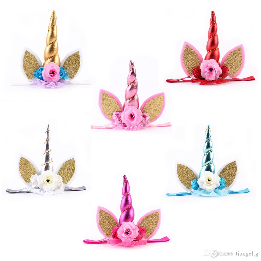Baby Hairband Girls Headband Floral Unicorn Design Party Hair Accessories Baby Gift Play Accessories Hair Band