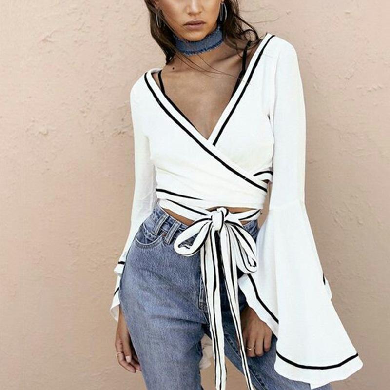 002bba41d89204 2019 White Wrap Blouse Sexy V Neck Bell Sleeve Cross Bandage Crop Tops  Women Summer 2018 Tie Waist Short Blusa Y1891109 From Zhengrui05