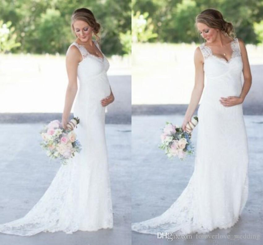 Affordable Maternity Wedding Gowns: 2018 Lace Maternity Wedding Dresses Cheap Romantic V Neck
