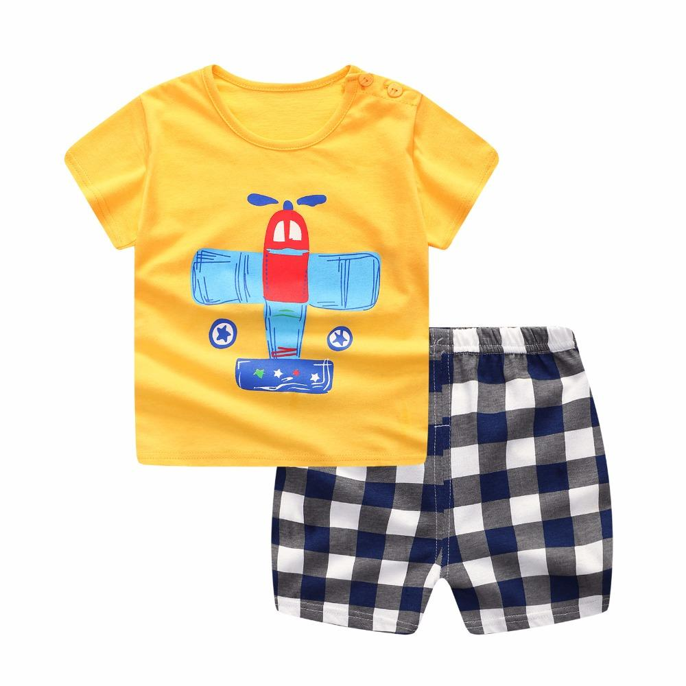 Conjunto de ropa de verano para niño pequeño niño conjunto de ropa para niños  conjunto de mono Camiseta top + pantalón recién nacido Plaid infantil Ropa  de ... cd7d3cf13142