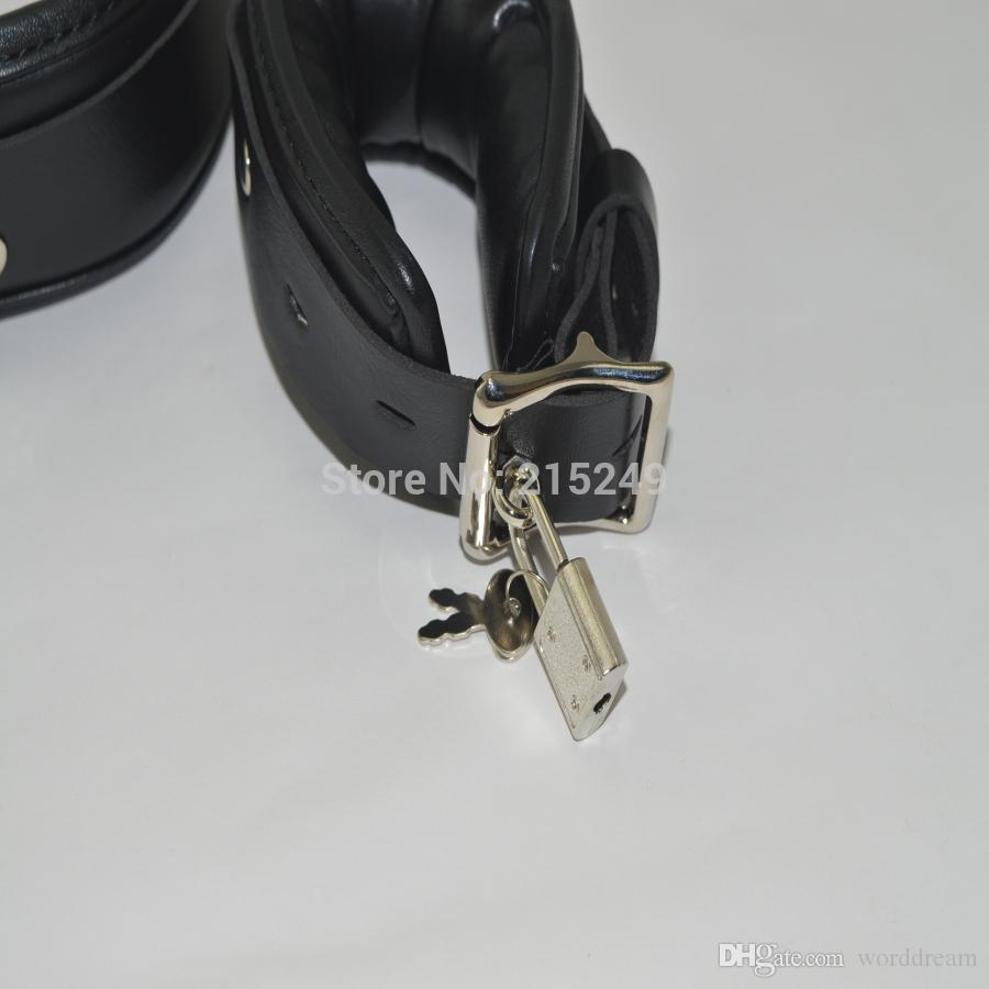 BDSM Leather Legs Hand Wrist Cuffs Lockable Bondage Belt Slave In Adult Games For Couples , Fetish Sex Products Toys Women And Men