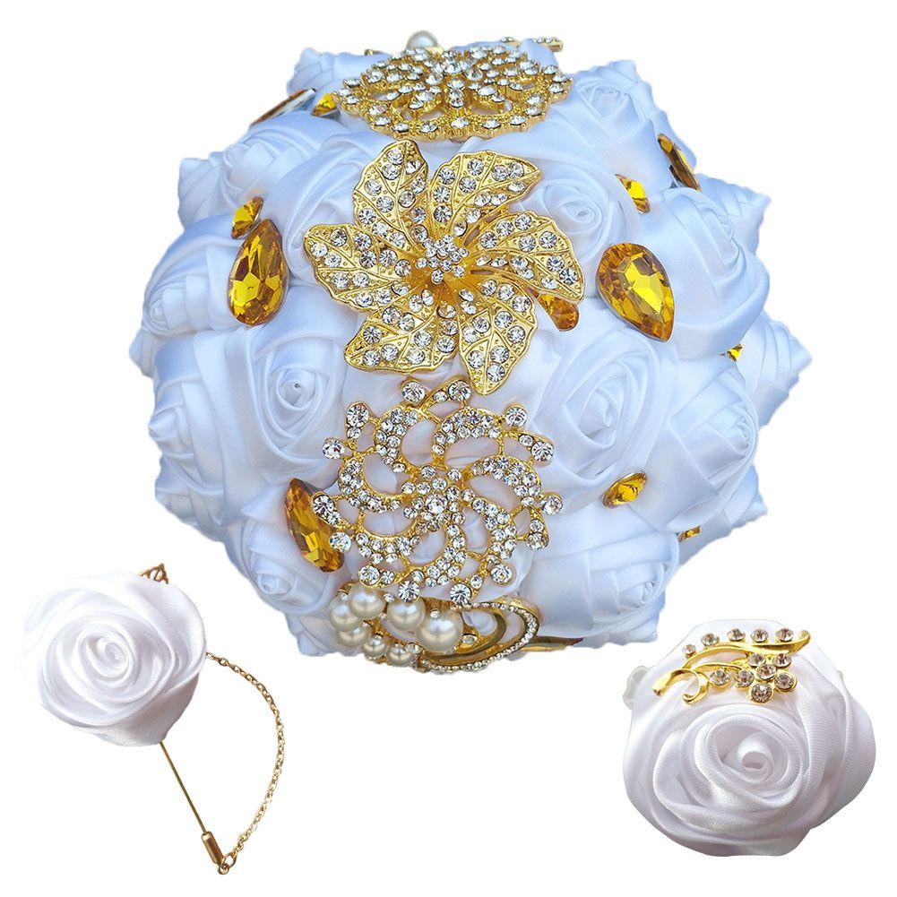 White Rose Bridesmaid Wedding Foam Flowers Rose Bridal Bouquet