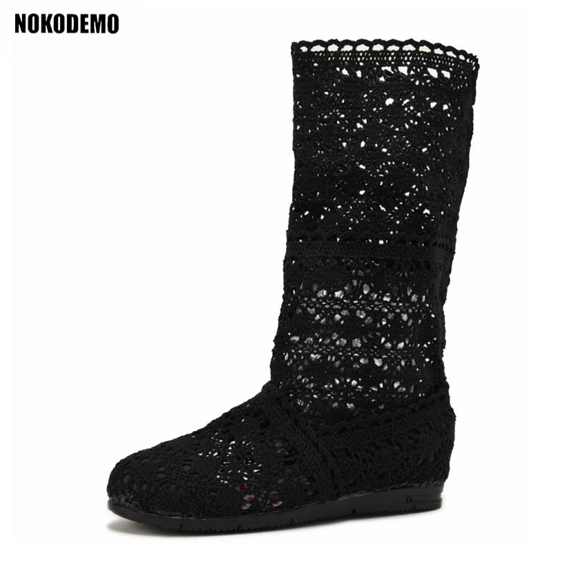 09398ffce811d Women Cut Out Knitted Flat Mid-calf Boots Crochet Shoes Woman Flats for  Summer