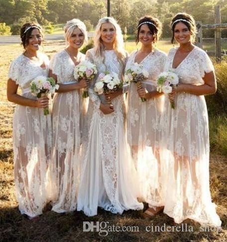 Plus Size New Boho Lace Bridesmaid Dresses 2019 V Neck Short Sleeve Illusion Bodice Floor Length Beach Wedding Guest Party Prom Gowns Cheap