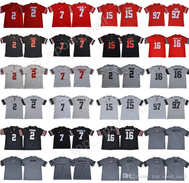 7318080c6ba 2019 NCAA Ohio State Buckeyes Nick Bosa Jersey 97 JK Dobbins College  Football Dwayne Haskins Jr 15 Ezekiel Elliott Joey Bosa Justin Fields Red  From ...