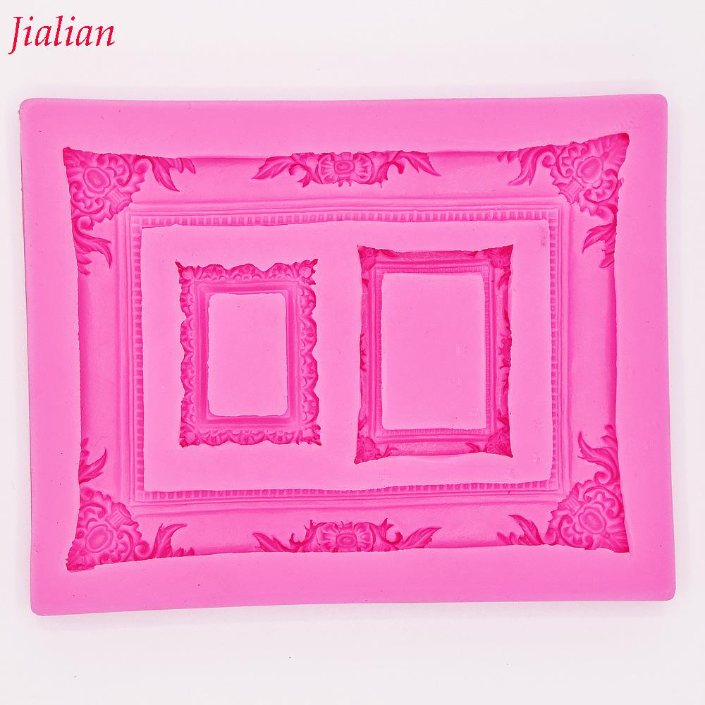 Jialian mirror picture frame modelling 3D silicone mold cake decoration mold fondant FT-0950