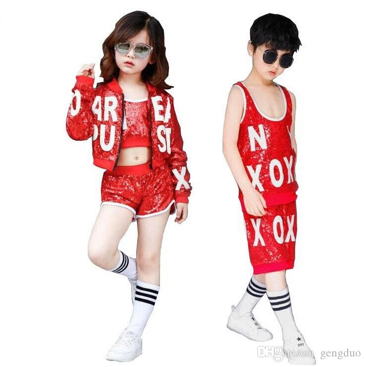 Compre Novas Crianças Hip Hop Lantejoula Traje Crianças Jazz Dança Dança De  Rua Vestuário De Desempenho Dança Moderna Para Meninos Meninas Roupas  Conjunto ... c2279e41b68