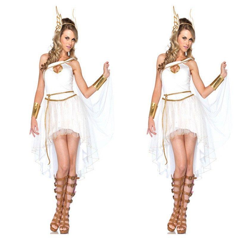 143e4a758 Compre New Girl Deusa Grega Traje Cosplay Halloween Feminino Fantasia Roupas  Cosplay Branco Sheer Malha Vestido Para Festa De Carnaval Sexy De Vikey06