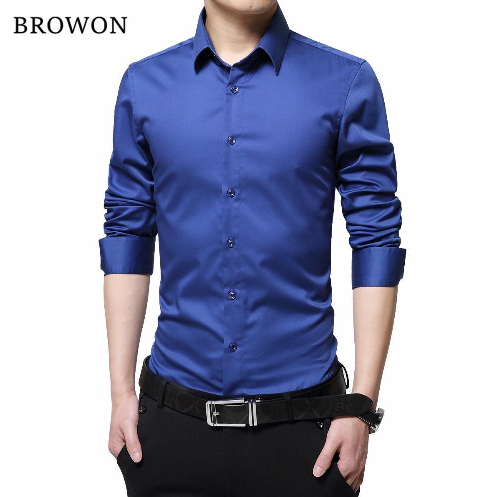 brand new 1e1e9 1c4f1 BROWON Camicie uomo di marca Mercerizzato cotone tinta unita Slim Fit  manica lunga camicia di seta Smooth Camicie uomo grandi dimensioni S-5XL
