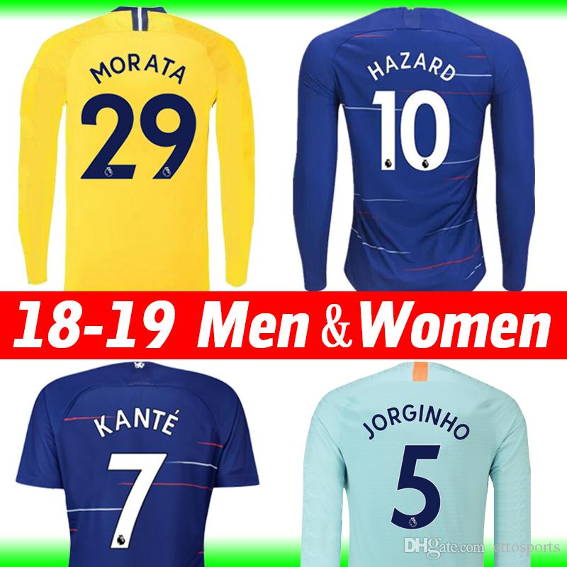 2019 18 19 HAZARD Soccer Jersey Long Sleeve Thai 2019 JORGINHO KANTE Third  Football Shirt Full Sleeve Tops WILLIAN AZPILICUETA HAZARD Women Shirt From  ... 6d8265a65