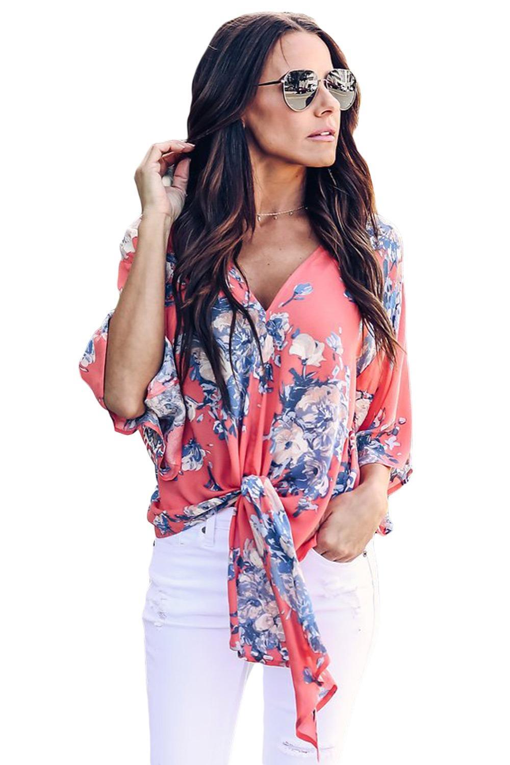 29466619c7 Compre Outono Camisas Mulheres Tops Coral Florido Impressão Com Decote Em V  Laço Frente Kimono Manga Blusa De Férias Blusas Feminina LC251052 De  Xuxiaoniu2