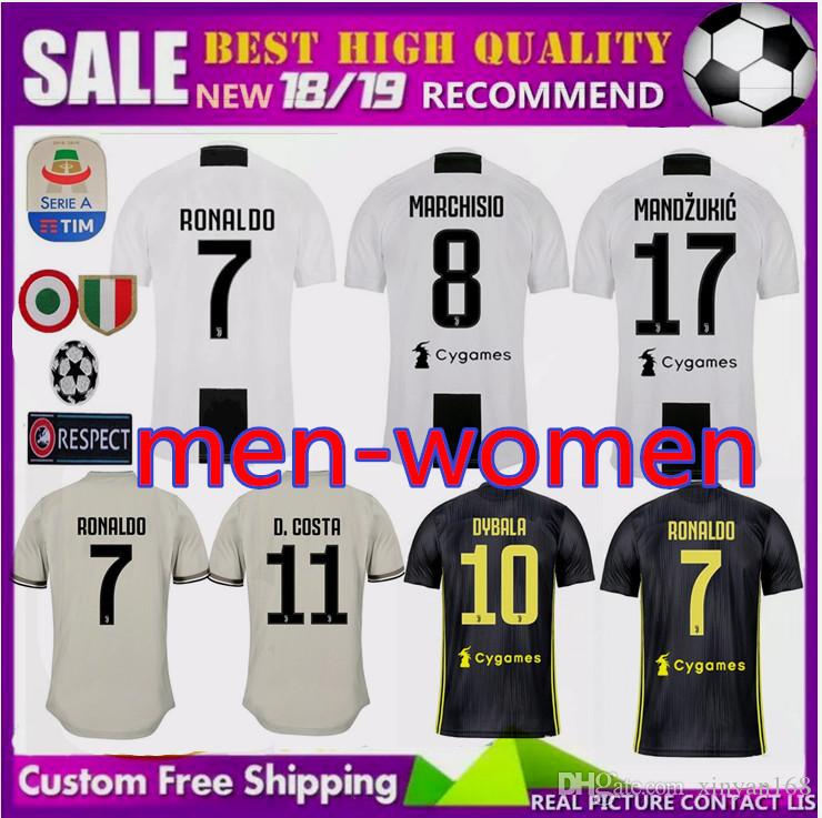 b4956c6ef90 Champions League New 2018 2019 Men Women RONALDO JUVENTUS Soccer Jerseys  JUVE CR7 18 19 MANDZUKIC PJANIC CHIELLINI DYBALA Football Shirts UK 2019  From ...