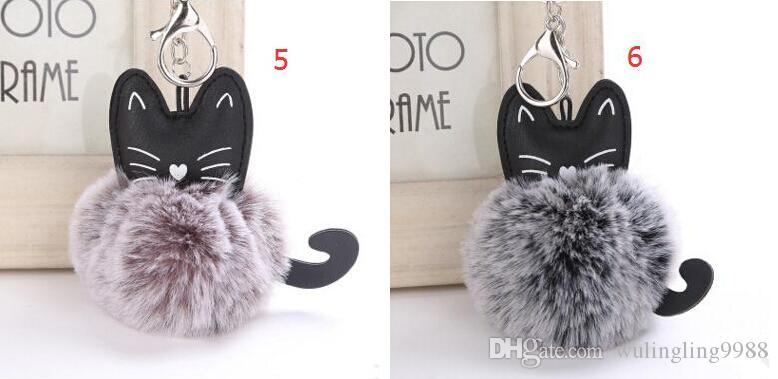 8 CM 10 Cores Macio Mini chaveiro Faux Saco De Bola De Pele De Coelho Gatinho Fur Bola Anel Chave de Pelúcia Keychain PU Animal Pingente Pompon Chaveiro