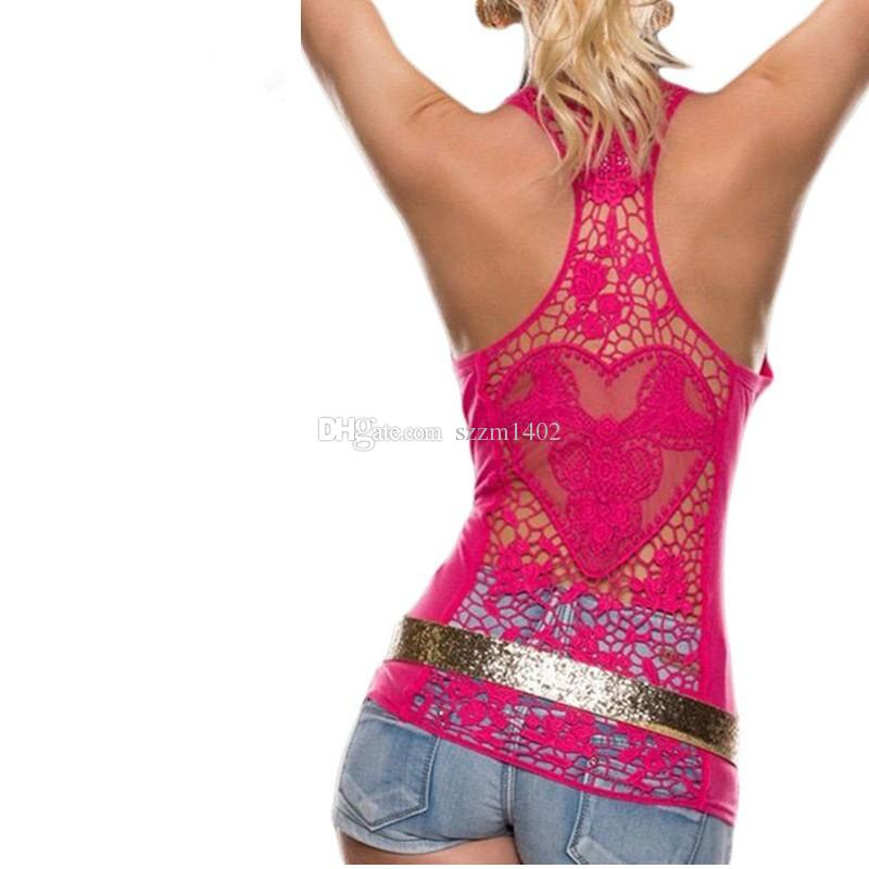 Fashion Women Slim Cotton Tee Tops Lady Lace Sexy Vest Sleeveless Pink Black Shirt Casual Blouse Spring Summer Girl Tanks & Camis