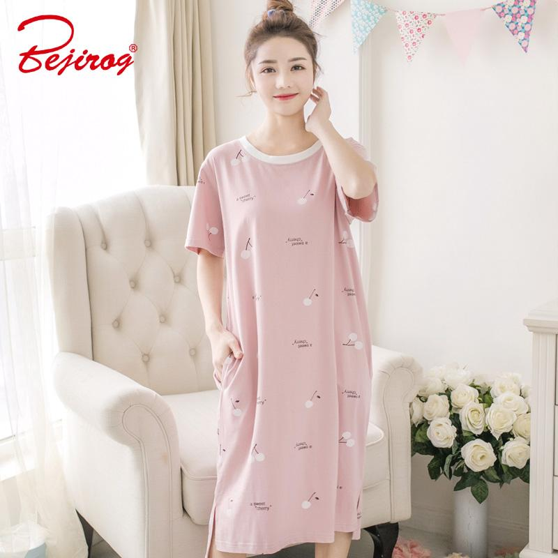 2019 Bejirog 2018 Women Nightgowns Short Sleeved Sexy Sleepshirt Cotton  Pyjamas Female Nighties Sleep Clothing Cute Lingerie Summer From Cadly 77ce8d296