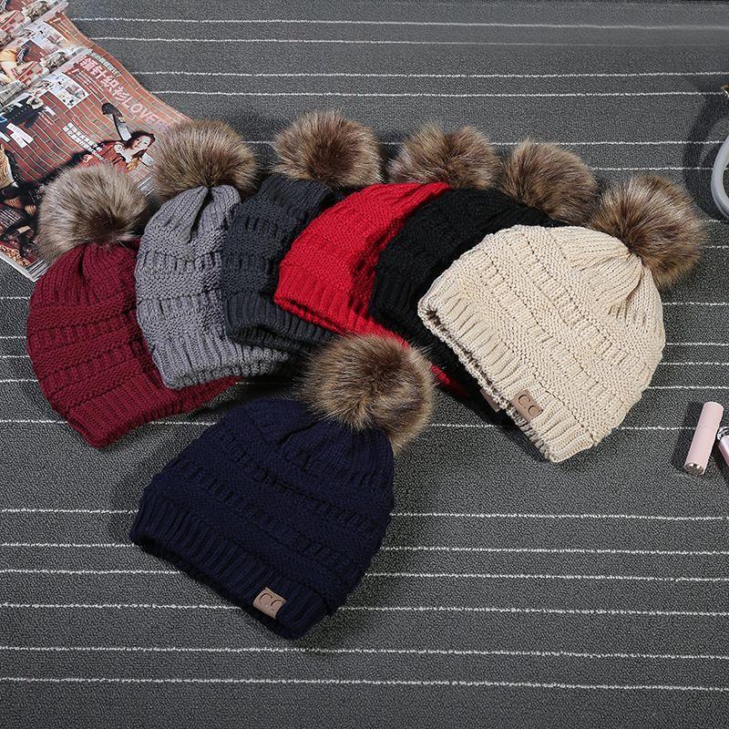 9a5d2de79a3 Wholesale- 2018 Winter Stylish Women Faux Fur Pom Pom CC Knitted ...