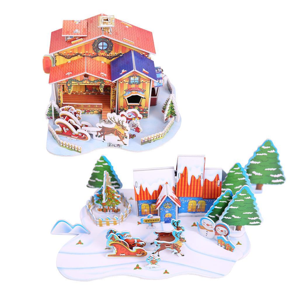 Weihnachten 2019 Schnee.2019 Neujahr Weihnachten Dekoration Lieferungen Diy Papier Weihnachten Haus Schnee Haus Xmas Kinder Geschenk Montage Hütte Ab382