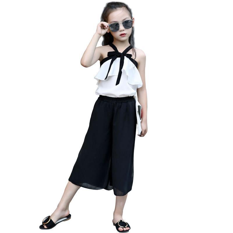 e476a3446a57e1 Acquista Chiffon Toddler Girls Abbigliamento Estivo Set Bambini Adolescenti  3 4 5 6 7 8 9 10 11 12 13 Anni Neonata Moda Camicie In Chiffon + Pant A  $28.62 ...