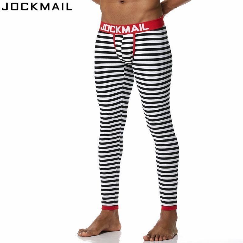 JOCKMAIL Nueva marca Otoño e invierno Hombres larga johns ropa interior térmica Leggings Pantalones Algodón de alta calidad Moda rayas sexy
