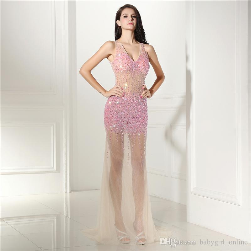 Wholesale V Neck Backless Simple Dress Exposed Boning Formal Dress