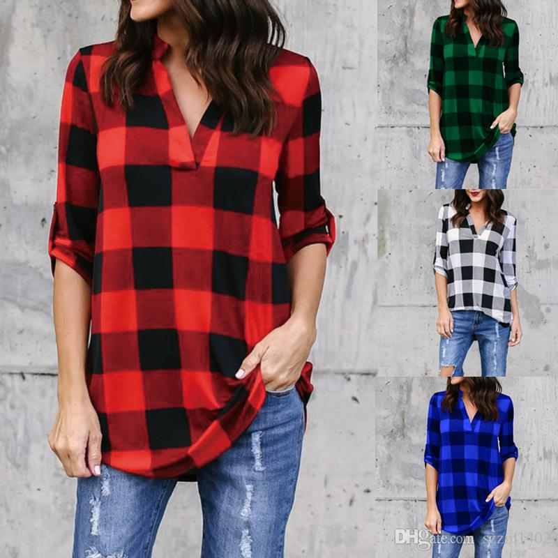 a9ed037077ed Acquista Camicia Casual Scozzese 2018 Taglie Forti Abbigliamento Donna Camicie  Di Flanella Top Camicetta Camicetta A Maniche Lunghe Da Bambina Camicetta A  ...