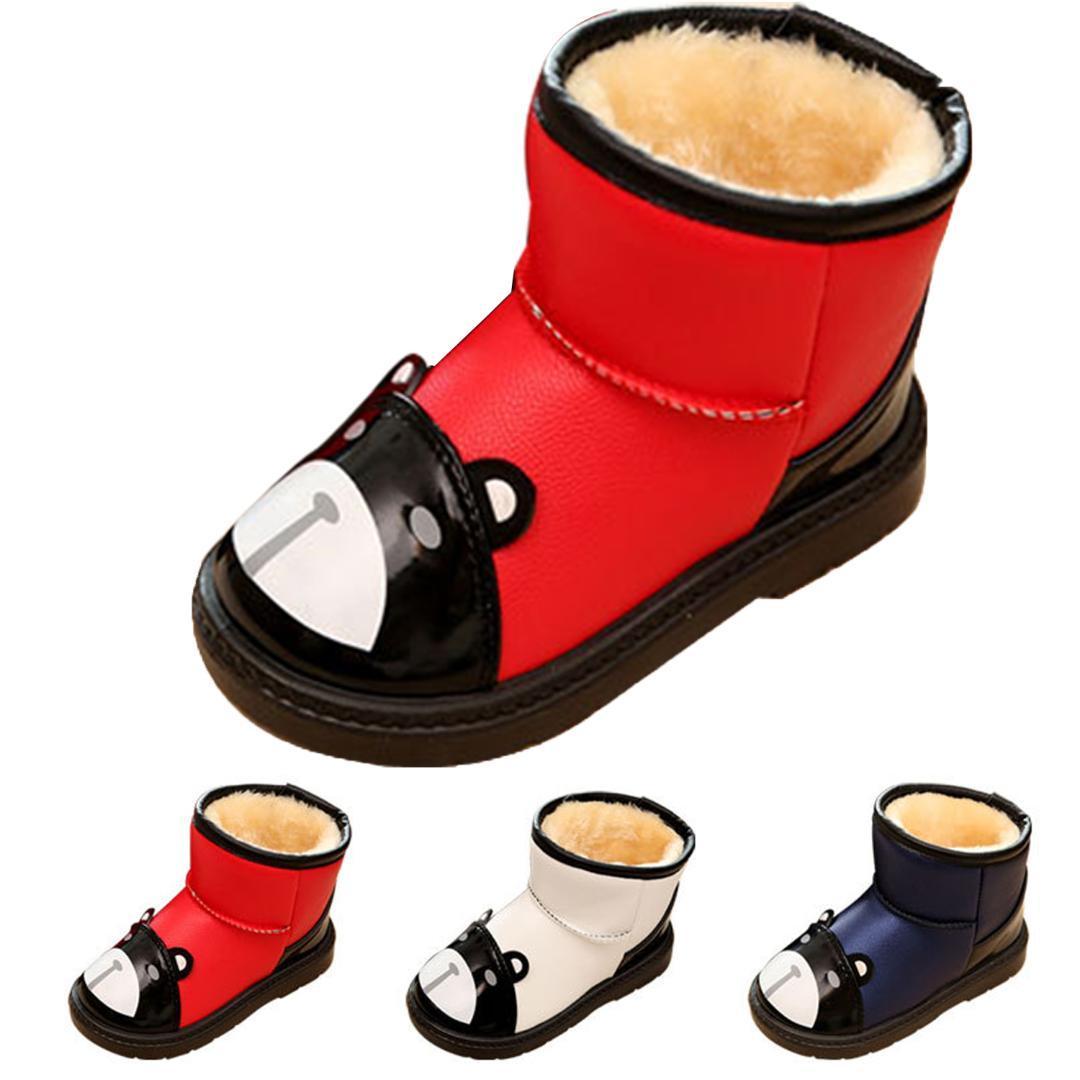 9abf2cc8089cf Acheter Enfants Bottes De Neige Bébé Filles Chaussures De Mode Ours  Imperméable Bottes De Neige Pour Garçons Hiver Enfants Filles D hiver  Cadeaux De Noël De ...