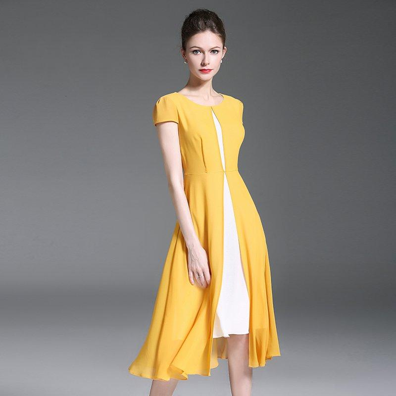 905911171aa1 2018 New Fashion Splicing Round Collar Short Sleeve Front Fork Yellow Chiffon  Dress Office Ladies And Party Dresses Summer Lace Dresses Cocktail Dresses  ...