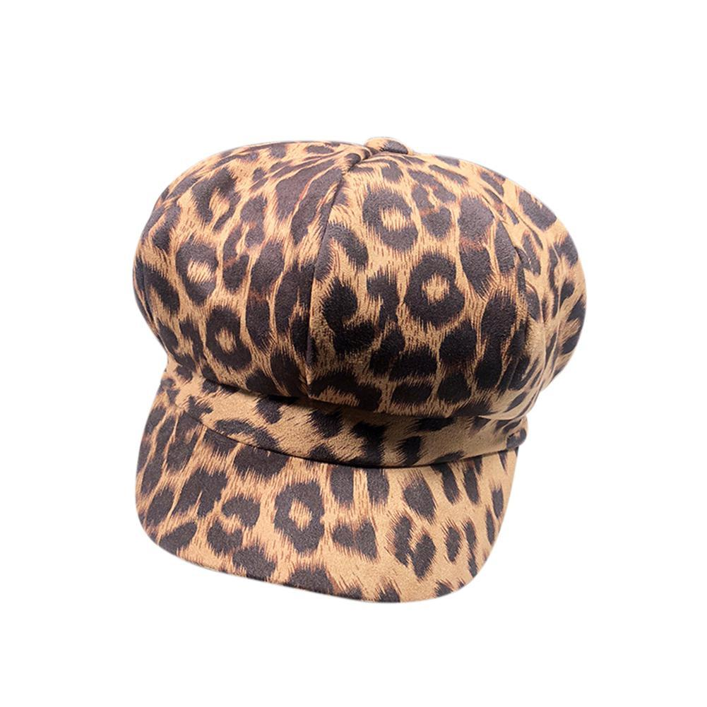 39486ce00 MISSKY Women Autumn Winter Beret Cap Hat Fashionable Leopard Print Retro  Faux Suede Octagonal Cap for Ladies