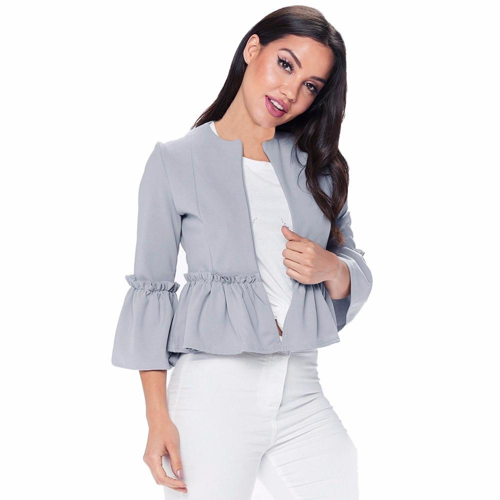 31603a3b6142 US 2019 Autumn Fashion Jacket Clothes Suit Women Ladies Long Sleeve  Cardigan Casual Office Suit Femme Cotton Jacket Coat Outwear Brown Leather  Jackets Suede ...