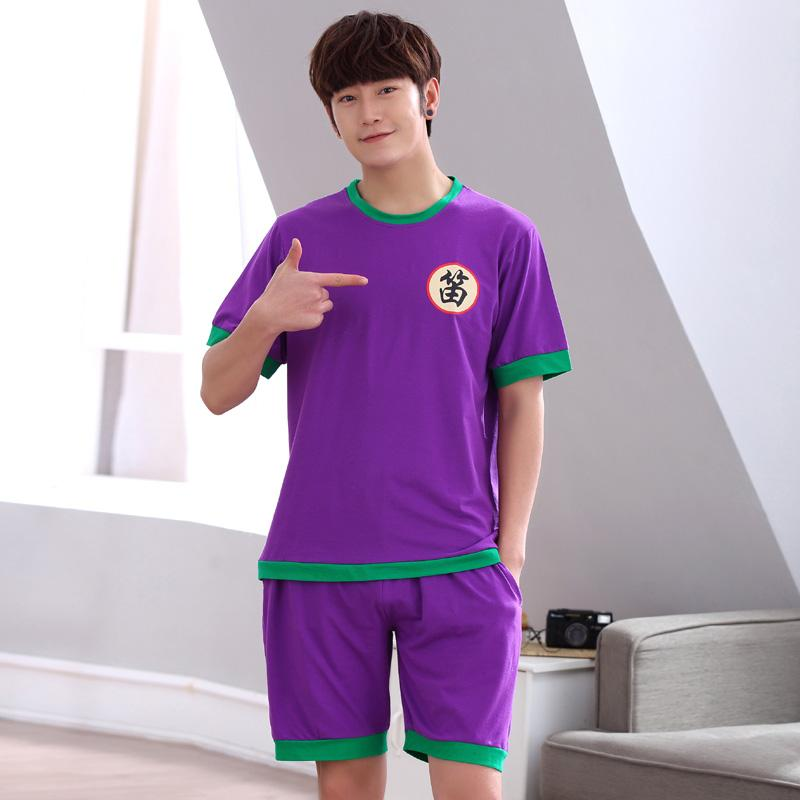 8d7be5dd98f7 2019 Bejirog Nightwear Men Pajamas Set Cotton Sleepwear Purple Suit Short  Sleeved Sleep Clothing Casual Nighties Summer Male Lounge From Roberr