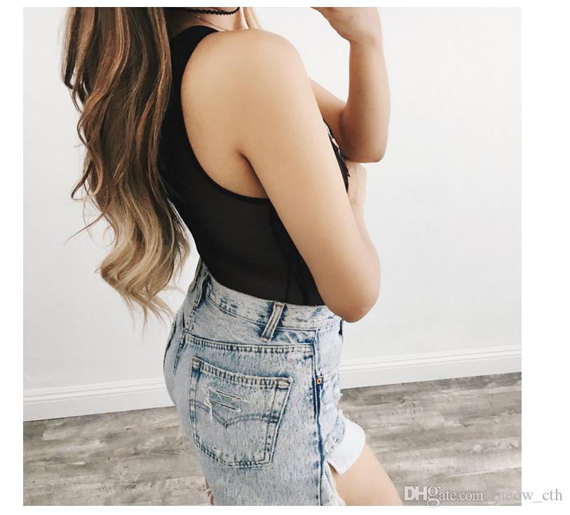 2018 nuevo Pesado bordado sexy Jumpsuit Perspective rose peony bordado pantalones cintura estiramiento pantalones verano mujer nueva moda