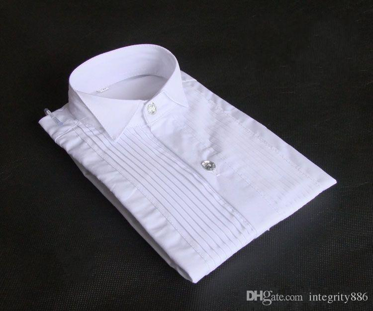 Top Quality White Cotton Long Sleeve Groom Shirt Men Small pointed collar fold Formal Occasions Dress Shirts