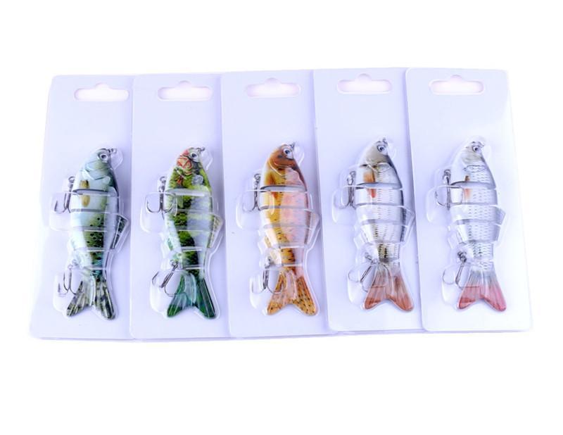 5 цветов / лот 6 сегментов ABS пластик нахлыстом приманки 18 г 10 см моделирование дайвинг плавание Rattlin Лазерная кривошипно бас приманки