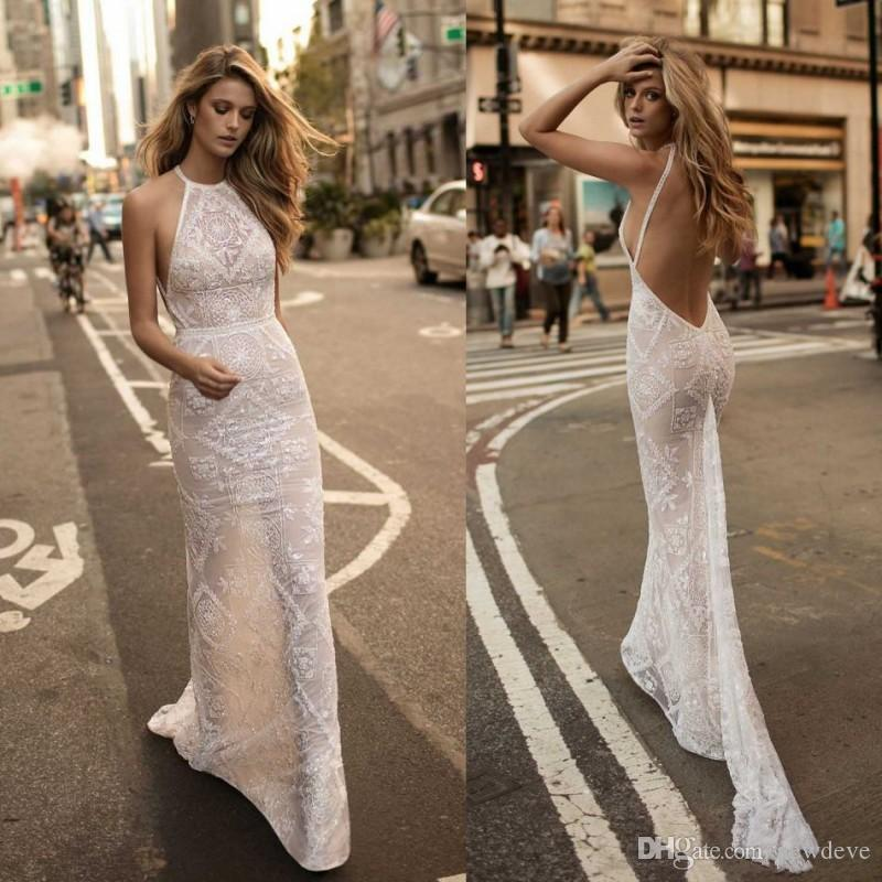 Berta Bridal Mermaid Crystal Wedding Dresses Halter Neck Lace ...
