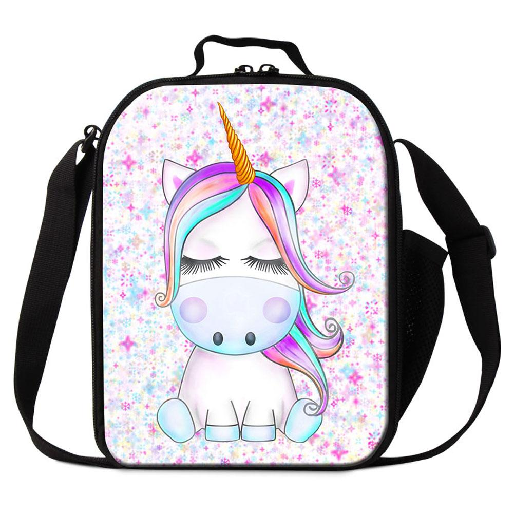 2117bcc11e59 Cute Unicorn Animal Printing Lunch Bags For Student Custom Design Cooler  Bag For Girls Thermal Insulated Ice Packs Children School Lunch Box
