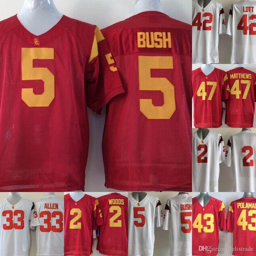 on sale 767d4 78aac USC Trojans College Jerseys 43 Troy Polamalu 32 OJ Simpson 55 Junior Seau  Red White College Football Stitched Jerseys