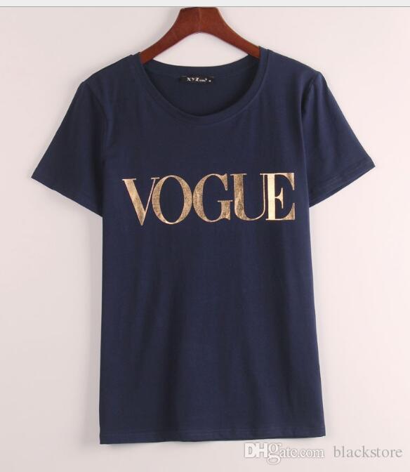 Moda d'oro all'ingrosso VOGUE T-shirt le donne Hot stampa della lettera t shirt Tops Plus Size femminile Tees maglietta