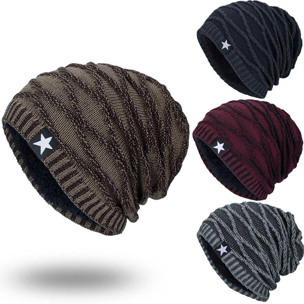 Unisex Fashion Wool Knitted Hats Hedging Head Pentagram Geometric Pattern Beanie  Cap Warm Outdoor Hat Thick Female Cap  VD1093 Skullies   Beanies Cheap ... b20e189468c0