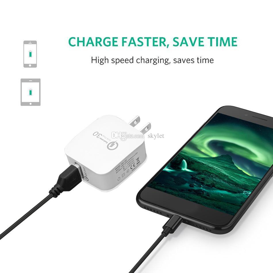 Adaptador de carga rápida QC 3.0 Cargador de pared 5V / 2.4A Adaptador de viaje a casa con enchufe USB para Huawei P20 PRO iPhone X Galaxy S9 Plus con bolsa OPP