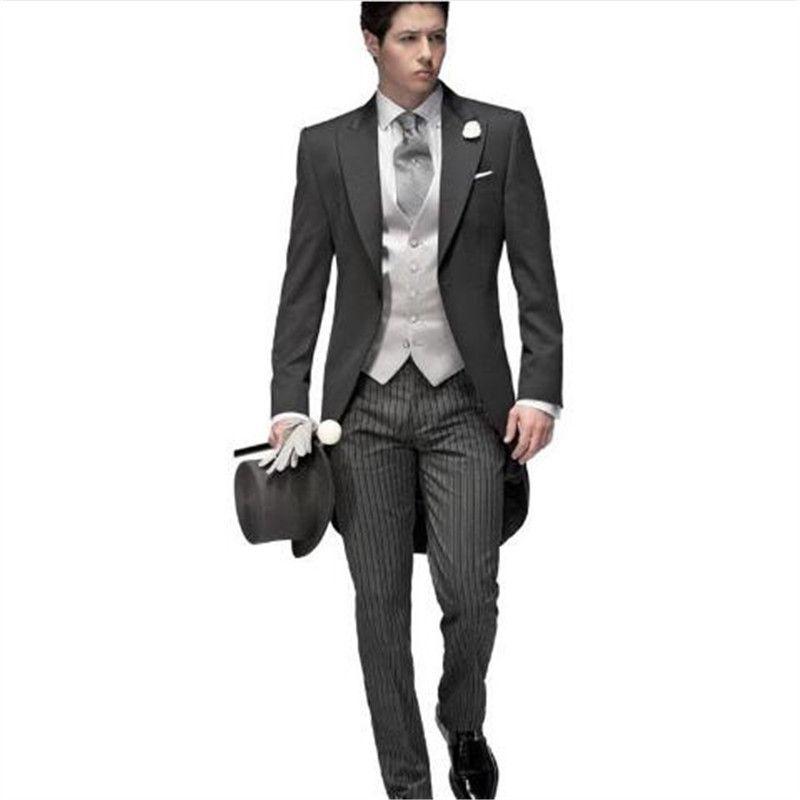 Acheter Costume Homme Gris Noir Costumes De Mariage Pour Hommes 3 Pièce  Trajes De Hombre Anzug Herren Hommes Costumes 2018 Veste + Pantalon + Gilet  De ... 56a46347a25