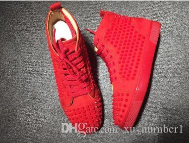 9e40f00c28 High Top Studded Spikes Casual Flats Shoes Red Bottoms Luxury Shoes 2018  New For Men Women Party Designer Sneakers Lovers Genuine Leather