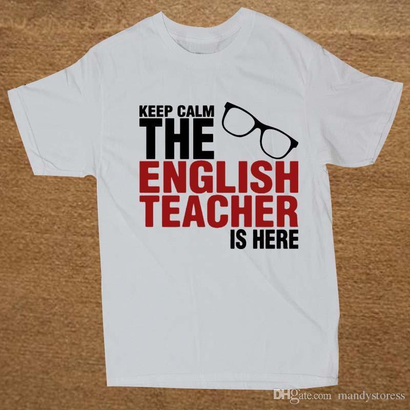 Wholesale-Keep Calm The English Teacher Is Here Custom Funny T ...