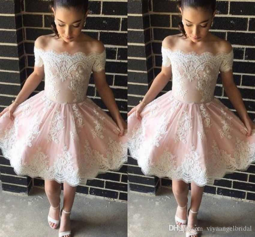 3348946213f2c Blush Pink A Line Cocktail Dresses 2019 Off Shoulder White Lace Applique  Beaded Ruffles Short Mini Party Graduation Prom Homecoming Gowns