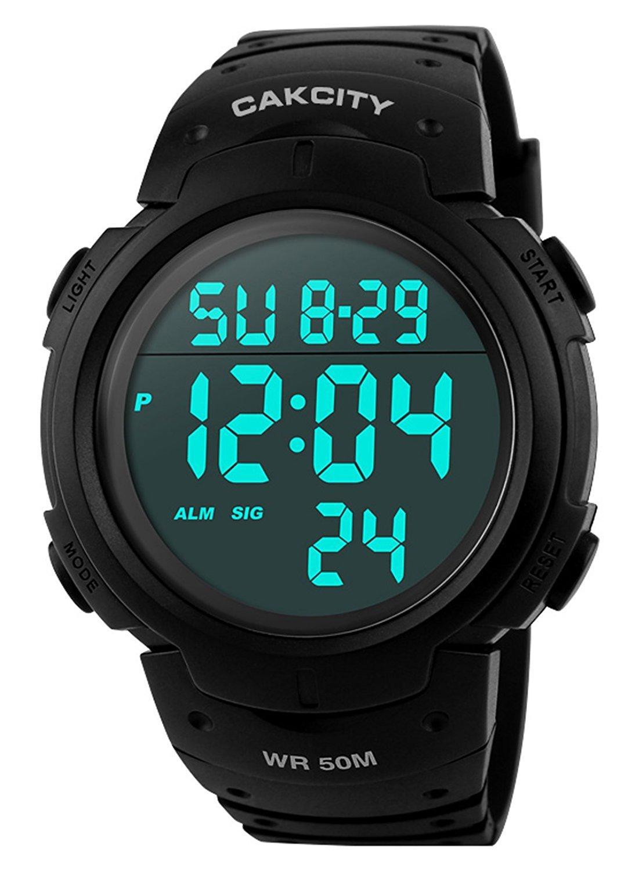 f8f7c69a47d Compre Relógio Digital Esportivo Para Homem LED Relógios Militares Para  Grandes Rostos E Relógios Luminosos À Prova D Água Casual Cronómetro Simples  Preto ...
