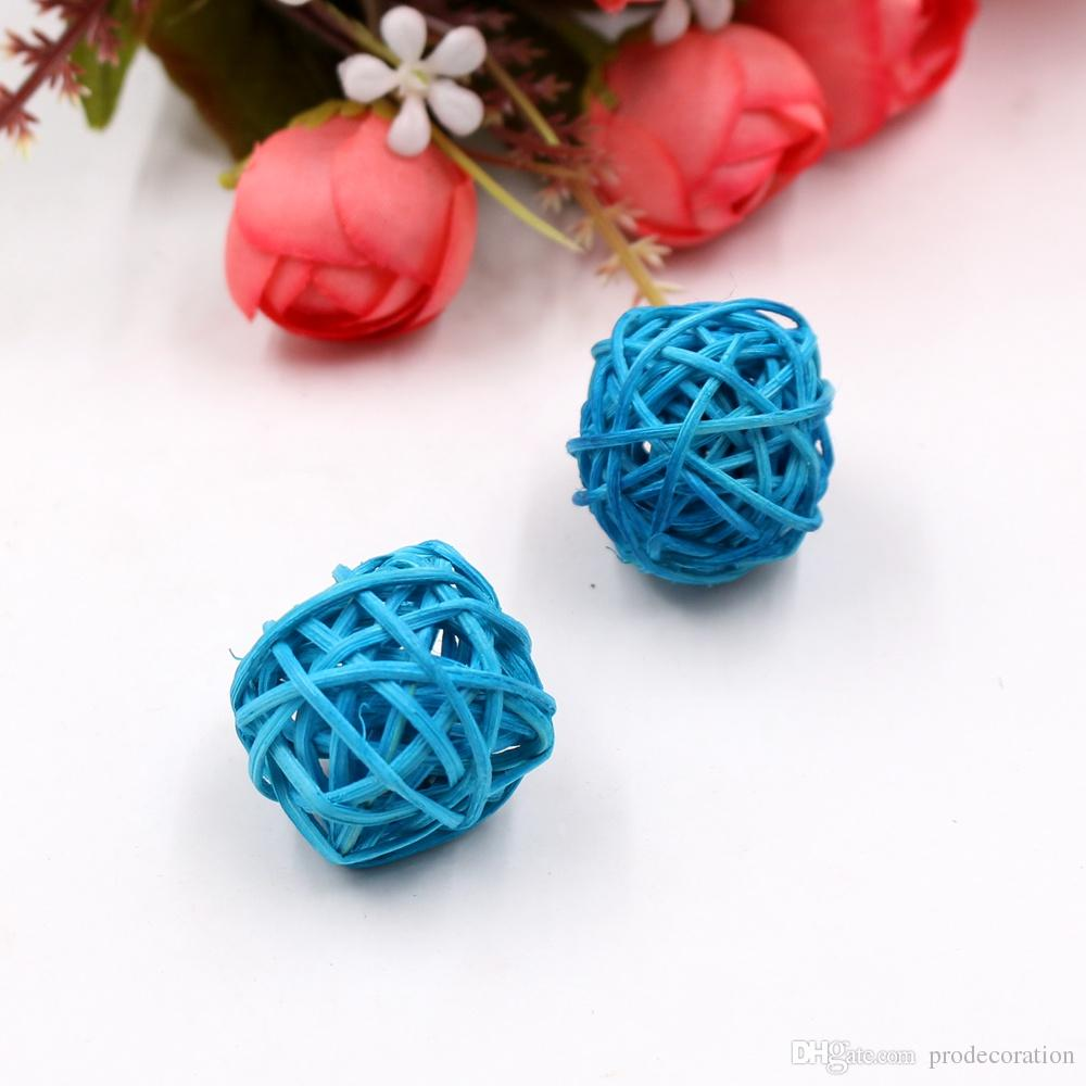 3cm Artificial Straw Colorful Ball For Gift Fill Holiday Decorations Party Home Ornament Supplies