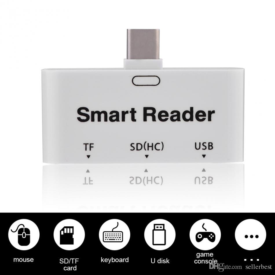 USB3.1 Type-C Smart Reader SD / TF Micro SD Memory Card Reader 1 Port USB 3.0 Hub with OTG Function Universal