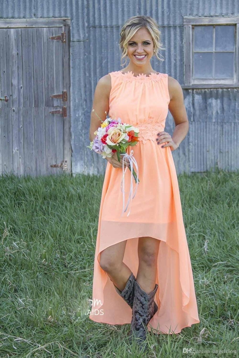 2019 New Country Hi-Lo 들러리 드레스 특종 등이없는 High Low Pleats 쉬폰 Beach 메이드 오브 Honor Dress 웨딩 게스트 자 가운 싼